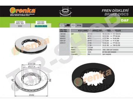 Тормозной диск 1387439 (98.009.033-FR)