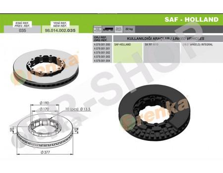 Тормозной диск SAF 98.014.002.035 (4079001000)